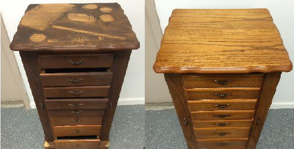 Before and after shot of a dirty dresser that has been cleaned